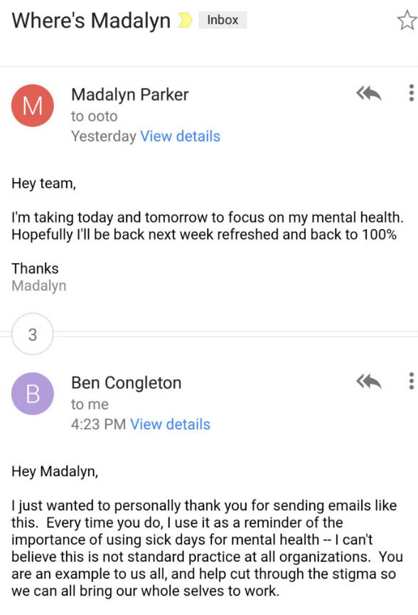 Madalyn Shared The Exchange On Twitter, Writing:   Sick Leave Email